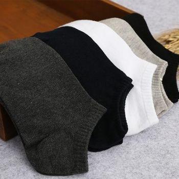 春夏新款百搭混纺男士纯色商务袜薄款船袜低帮浅口纯色黑色白色休闲男袜MSA1