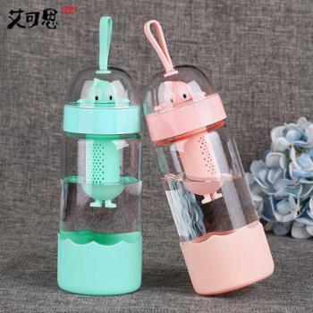 玻璃杯女生可爱创意潮流便携小清新个性学生水杯韩版随手杯子超萌370ml