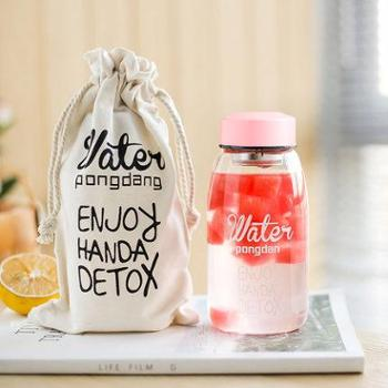 大容量便携水瓶杯子韩国创意小清新潮流原宿女学生韩版可爱玻璃杯粉色配布袋500ml