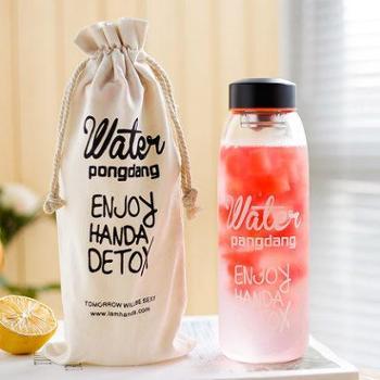 大容量便携水瓶杯子韩国创意小清新潮流原宿女学生韩版可爱玻璃杯黑色+布袋800ml