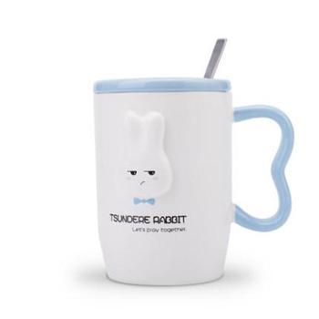 韩版潮流可爱陶瓷杯子带盖勺马克杯咖啡牛奶杯情侣水杯创意女学生蓝色大耳兔