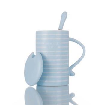 韩版潮流可爱陶瓷杯子带盖勺马克杯咖啡牛奶杯情侣水杯创意女学生蓝色彩螺