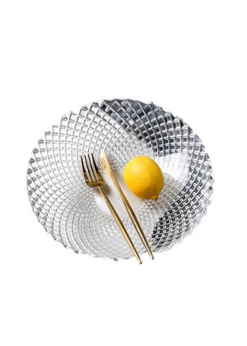 大号玻璃水果盘时尚北欧果盆创意简约现代客厅水果篮透明家用墨色