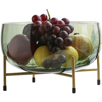 轻奢水果盘玻璃茶几套装欧式客厅个性摆件现代简约家用糖果盆创意