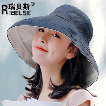 日系双面拼色大沿渔夫帽遮阳帽女防晒帽子女夏天