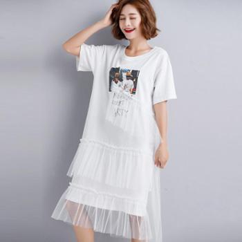 韩版短袖拼接网纱不规则蛋糕裙中长款显瘦仙女夏季女生连衣裙