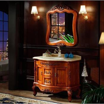 红橡欧式浴室柜落地橡木洗手台洗脸盆组合实木仿古卫浴柜