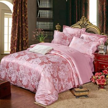 全棉贡缎提花四件套被套欧式纯棉床单1.5米1.8米2米床上用品