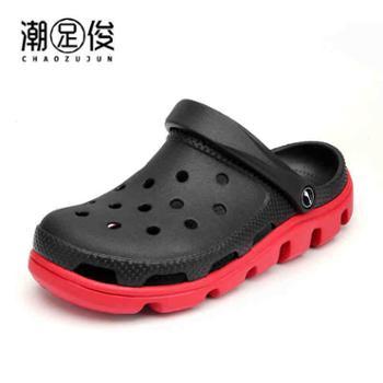夏季洞洞鞋男士韩版软底时尚拖鞋防滑外穿凉拖休闲沙滩鞋包头凉鞋