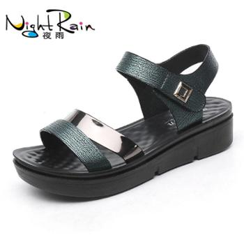 新款女士妈妈鞋凉鞋子夏季中年中跟坡跟中老年人女鞋孕妇平底