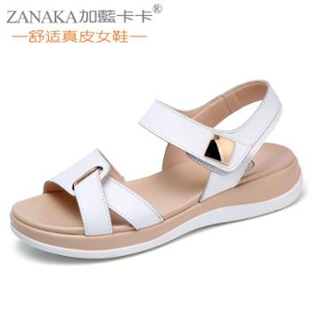 新款魔术贴平底凉鞋女平跟真皮韩版舒适百搭休闲学生女鞋