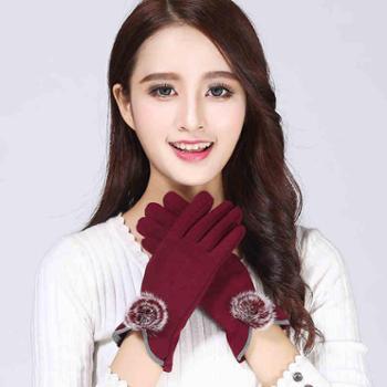 手套女冬天保暖触屏春秋冬季韩版学生可爱加绒加厚手套骑行骑车