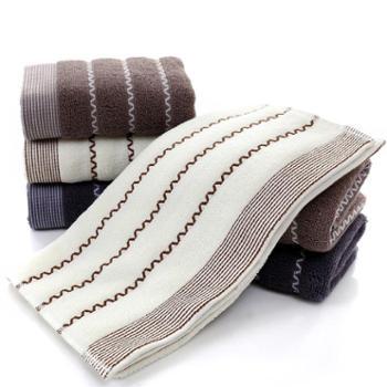雅鹿 水波纹纯棉毛巾三条装
