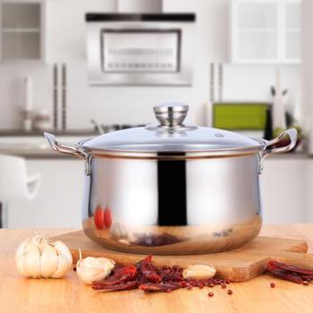 金伯乐热销不锈钢汤锅多功能弧形锅22CM厨房用品