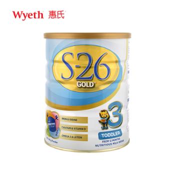 澳新版惠氏S26金装3段900g婴幼儿配方奶粉适用于1-3岁宝宝2021年1月到期