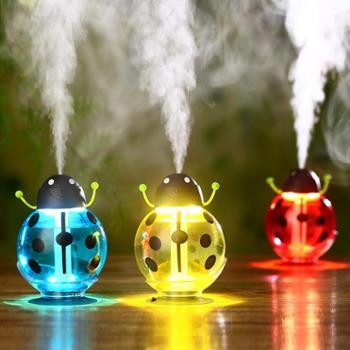巴里空间 新款甲壳虫加湿器 USB迷你加湿器 车载创意吸盘小夜灯空气净化器 甲壳虫造型创意炫光七彩灯泡加湿器 USB充电迷你桌面LED夜灯