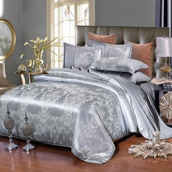黛丝丹奴贵族天丝莫代尔贡缎提花四件套 婚庆纯棉四件套床上用品