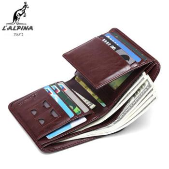 L'ALPINA袋鼠男士新款休闲时尚卡包油蜡真皮大容量防水钱包零钱包