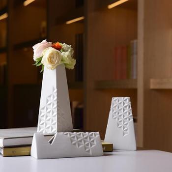 陶溪川景德镇陶瓷简影白色花器创意北欧陶瓷软装摆件礼品花瓶