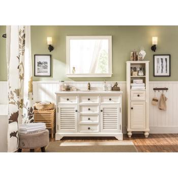 美式豪华浴室镜复古做旧欧式浴室柜镜子壁挂卫生间装饰镜子托板镜
