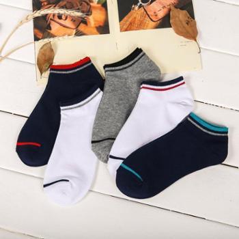 【5双装】馨霓雅男士短棉袜潮流彩色横条船袜6823