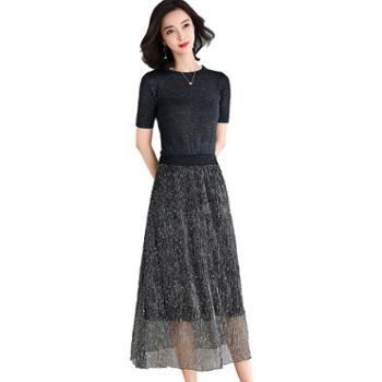 馨霓雅亮丝网纱假两件连衣裙Q6310