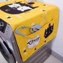 【部分包邮】数码印花加厚棉麻卡通布艺防尘罩冰箱盖布滚筒洗衣机罩