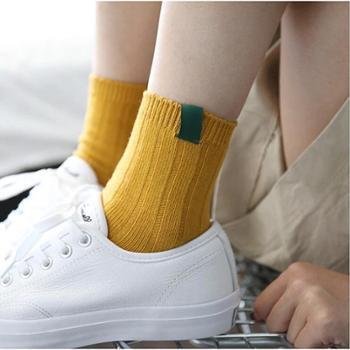 【2双装棉袜】秋冬新款纯色定标复古原宿女袜子 纯棉中筒袜学院风堆堆袜