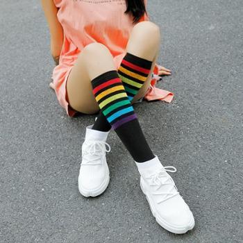 春秋新品及膝袜 日系彩虹条纹小腿袜 女士高筒堆堆袜子女独立包装