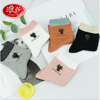 【6双装】浪莎袜子女秋冬可爱小猫棉袜精梳棉中筒透气防臭日系卡通短袜
