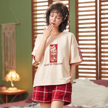 睡衣女夏季韩版纯棉短袖短裤可爱卡通薄款宽松清新学生家居服套装睡衣套装
