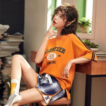 新品睡衣少女夏季短袖韩版宽松运动风时尚撞色格纹短裤家居服套装