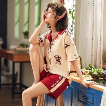 韩可雅睡衣女夏开衫撞色翻领纯棉短袖短裤涂鸦火烈鸟印花家居服套装