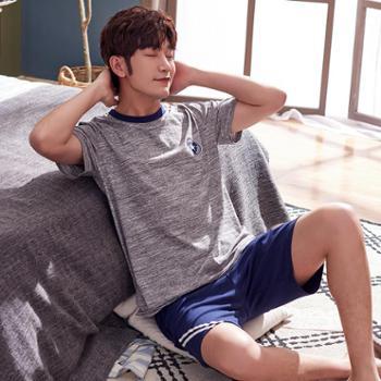 睡衣男夏季纯棉短袖短裤青年韩版休闲运动全棉薄款家居服学生套装