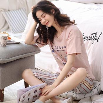 韩可雅睡衣女夏韩版休闲风居家印花纯棉短袖七分裤两件套舒适家居服套装