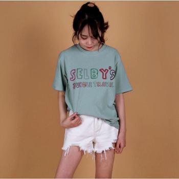 19新款女装羊毛拉架韩版t恤女夏 字母印花彩虹刺绣撞色字母上衣女