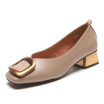 方扣单鞋女春季2018新款粗跟单鞋潮温柔风浅口方头鞋女复古奶奶鞋