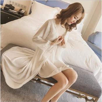 写真新款可爱蕾丝公主睡衣春夏季性感雪纺带胸垫睡袍两件套仙女神装