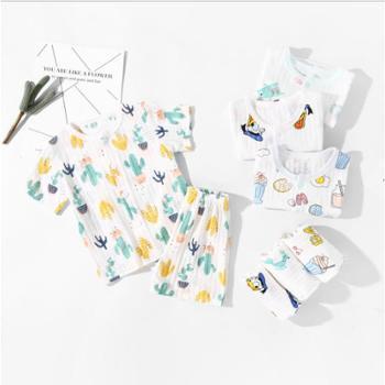 宝宝短袖套装纯棉婴儿薄款短袖短裤内衣0-3岁男女儿童夏季空调服
