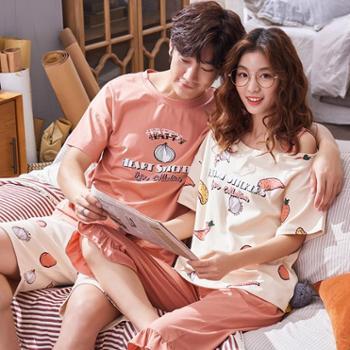 韩可雅新品情侣睡衣可爱马卡龙清新水果派对纯棉短袖夏季男女家居服套装