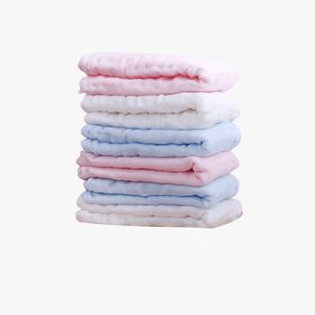 植护婴儿纯棉纱布毛巾6条装口水巾儿童新生儿宝宝洗脸小方巾