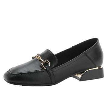 韩版女休闲时尚平底单鞋百搭学生英伦风小皮鞋