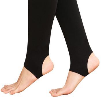 浪莎锦纶护腰提臀富姐裤秋冬踩脚一体裤黑色加绒打底裤袜