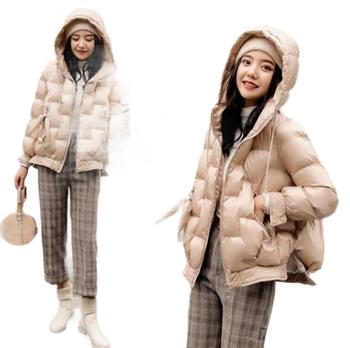 羽绒服女短款韩版加绒加厚小个子白鸭绒连帽面包服潮