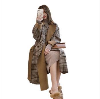 格子大衣加厚毛呢外套女韩版秋冬款女装中长款