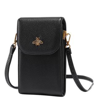 头层牛皮手机包女百搭蜜蜂真皮斜跨包休闲零钱包