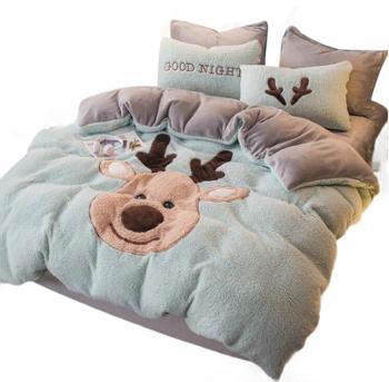 羊羔绒珊瑚绒四件套床上用品双面绒加厚法兰绒法莱绒冬季床单被套