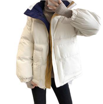 鹿西 短款拼色棉衣女加厚蓬蓬魔术贴面包服外套221