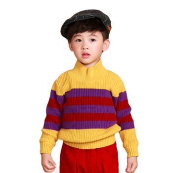 ColorPen彩色笔童装男小童秋冬高领加厚拼色针织毛衣