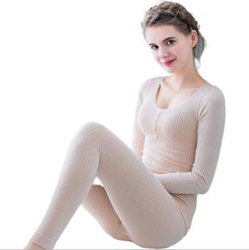秋衣秋裤女纯棉保暖内衣套装美体修身竖条打底条纹纽扣棉毛衫